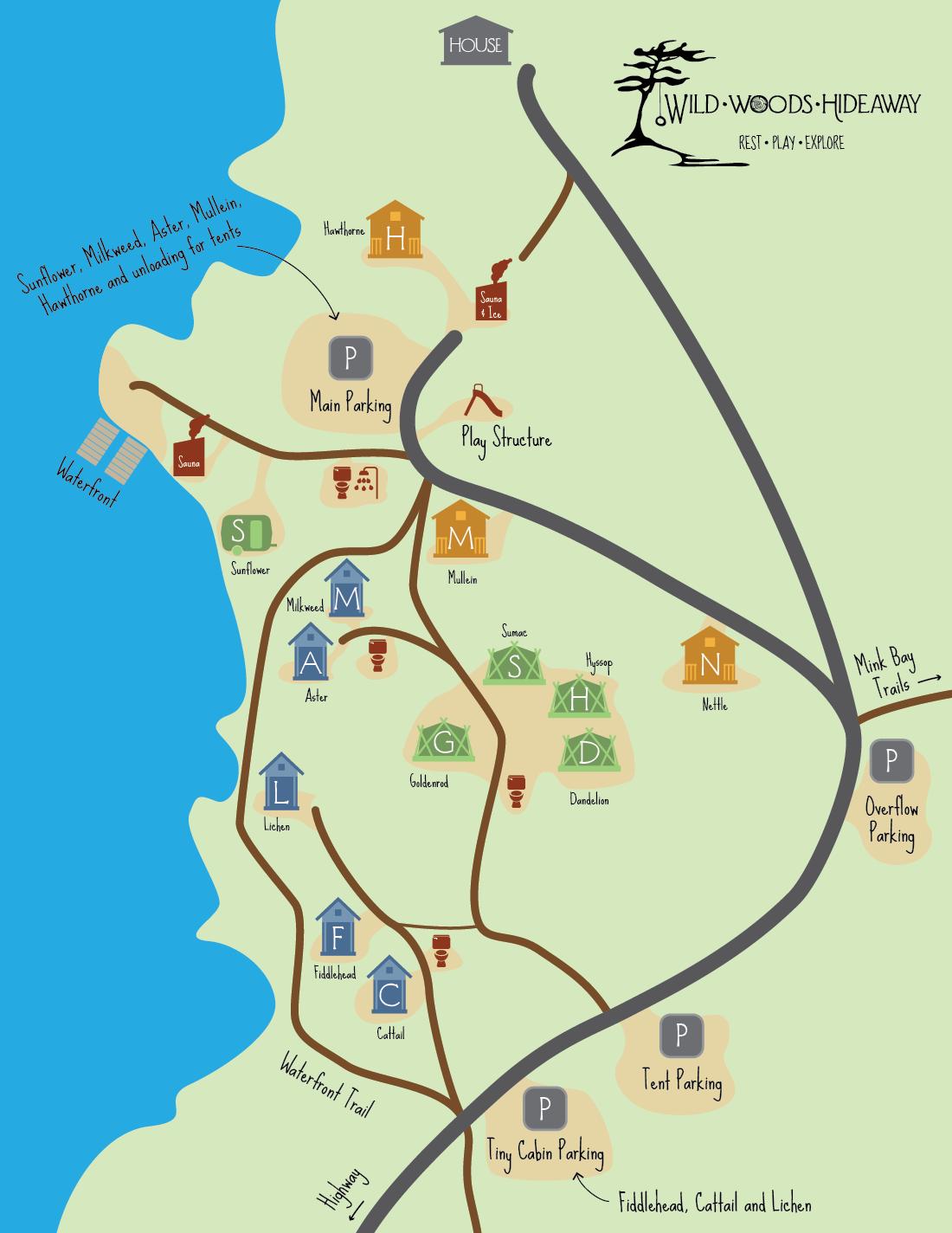 Wildwoods Hideaway Grounds Map